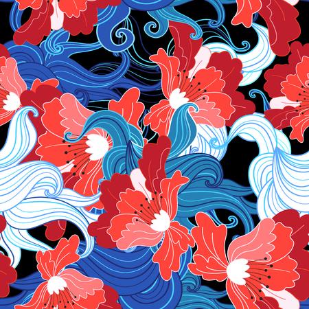 Seamless beautiful bright vector summer floral pattern Stok Fotoğraf - 101583780