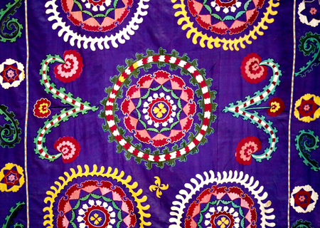 Photo of a beautiful bright East natural ornament for fabrics Stock Photo