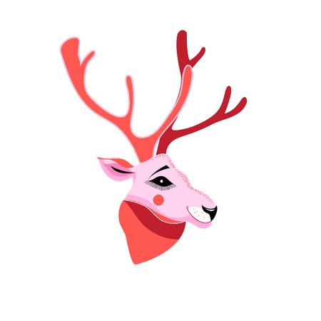 Vector illustration of deer portrait on white background  イラスト・ベクター素材