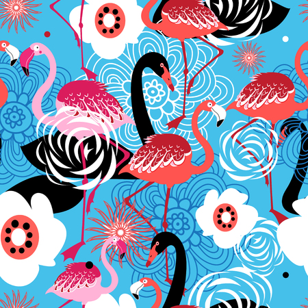 Bright floral pattern of flamingos and swans on blue background  イラスト・ベクター素材