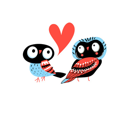 Bright greeting card with owls in love on white background Illustration