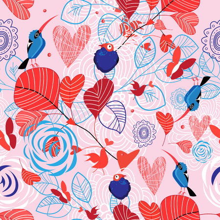 Floral pattern with birds on pink background