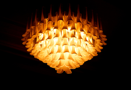Photo macro magnificent gold-plated chandelier in an ancient Palace Stock Photo - 102428613