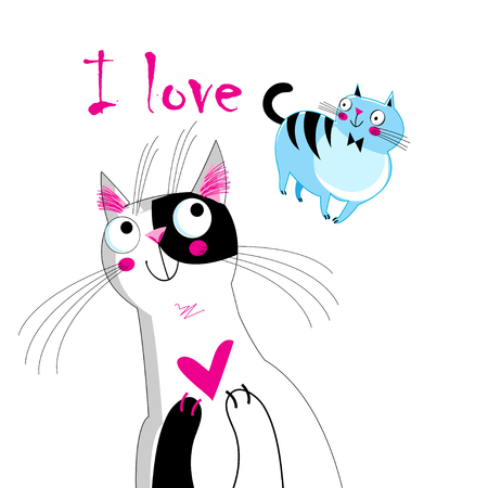 Vector illustration of a loving cat on a white background Stok Fotoğraf - 102347663