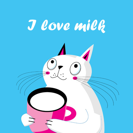 Vector illustration of a funny cat with a Cup of milk cartoon on a blue background