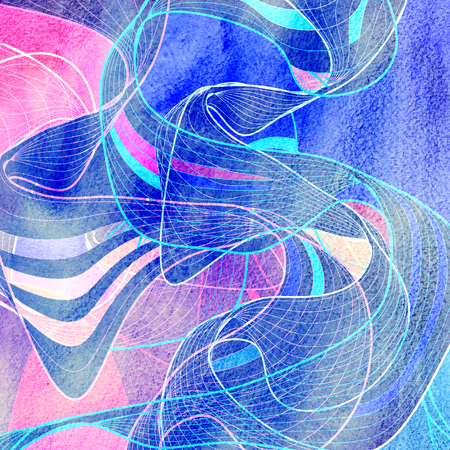 Abstract watercolor background with multi-colored waves Stock Photo