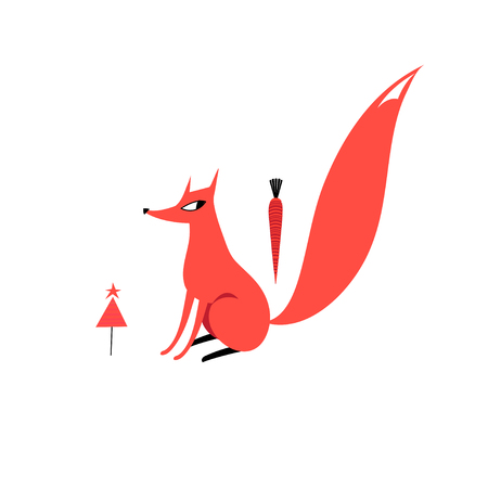 Vector illustration of a red Fox
