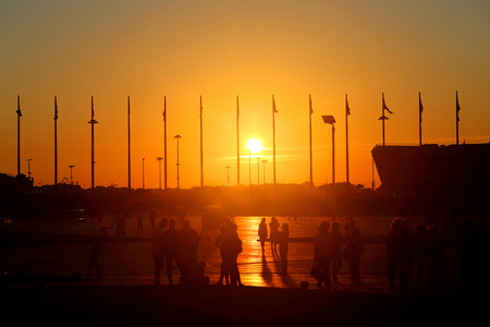 Photo of wonderful beautiful sunset on the sea in summer