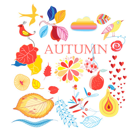 Bright collection of autumn elements on a white background Иллюстрация