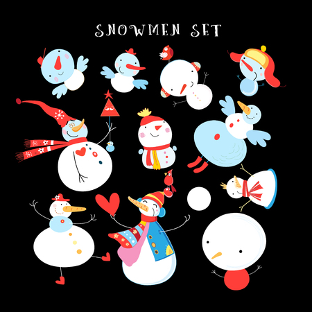 Vector New Years winter set of different snowmen on a dark background. An example of design for business cards.