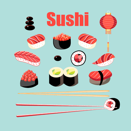 Vector bright set of sushi and rolls with fish on a blue background