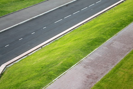 Photo of road and lawn geometry