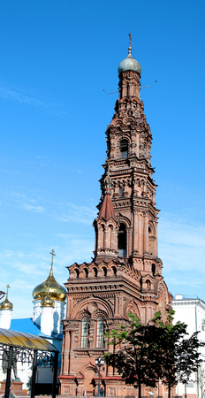 Photo macro The holy bell tower in Kazan on a sunny day 스톡 콘텐츠