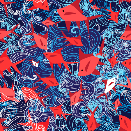 Seamless bright marine pattern of red fish on a blue background Stockfoto - 103848314