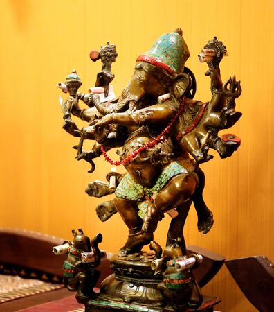 Photo sculpture of the Indian deity restaurant Stock Photo