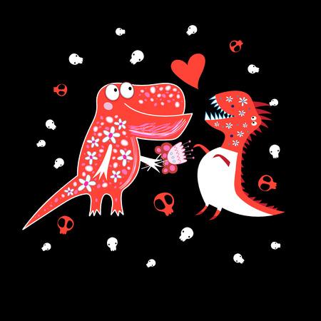 Celebratory postcard enamored dinosaurs on a dark background