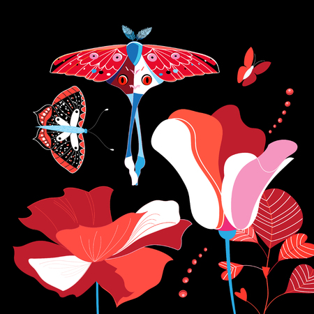Illustration of brightly colored flowers and butterflies on a dark background