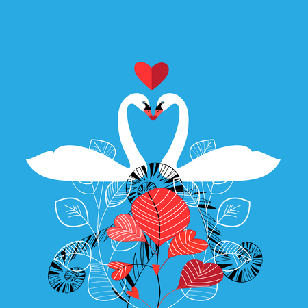 Illustration of enamored white swans on a blue background