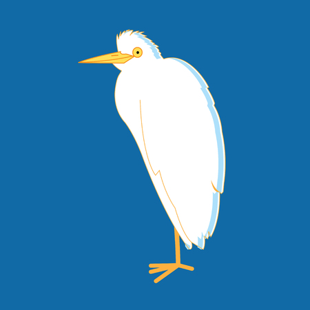 Illustration with white herons on a blue background