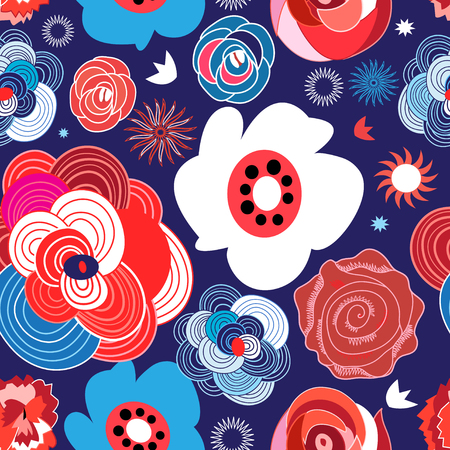Seamless summer floral pattern of roses on a dark background. Template for design. Illustration