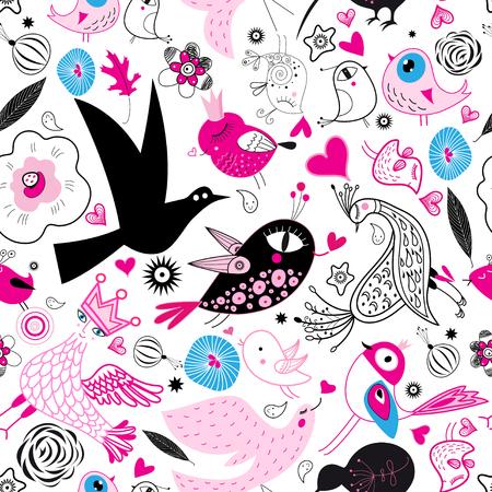Motif multicolore harmonieux d'oiseaux amoureux sur fond blanc