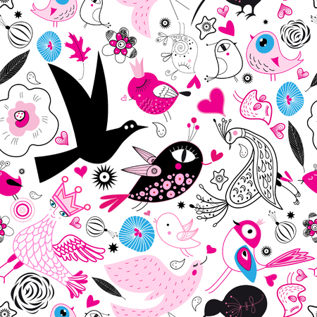 Seamless multi-colored pattern of enamored birds on a white background