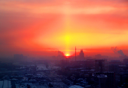 Photo of a beautiful retro sunset background in Moscow top view