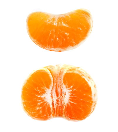 Photo of a delicious macro in a tangerine cut on a white background