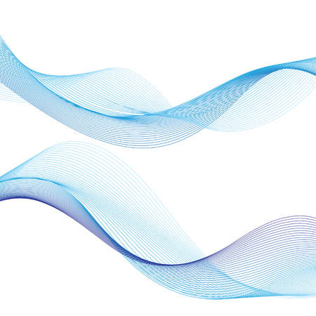 Blue vector wave on a white background. An example for the design of the web site of business cards posters.