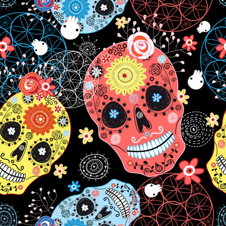 Seamless graphic pattern from cheerful ornamental skulls on a dark background Stock Illustratie