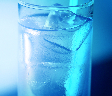 Photo of a macro glass with ice and cold water Stock Photo