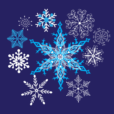 Heller Winterhintergrund mit schönen Schneeflocken Vektorgrafik