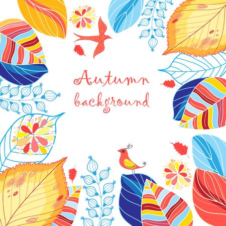 Mehrfarbiger Hintergrund des Herbstes mit Blättern und Vögeln Vektorgrafik