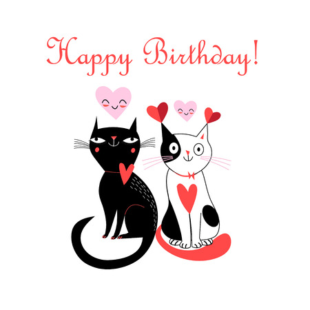 Merry greeting card with cats in love for Birthday