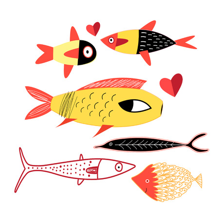 Illustration of a cheerful bright fish on a white background Иллюстрация