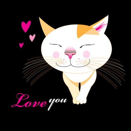 Illustration of a funny enamored cheerful cat on a dark background. Greeting card for the Day of All Lovers