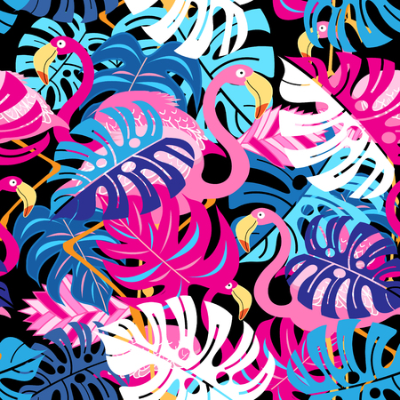 Beautiful bright tropical pattern of pink flamingos and leaves on a blue background 일러스트