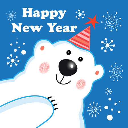 Greeting new year greeting card with a polar bear on a blue background with snowflakes