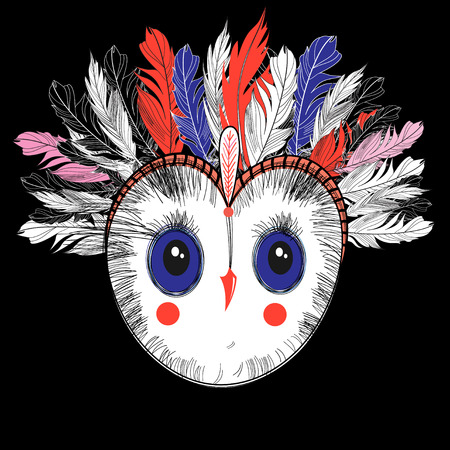 Bright graphic portrait of a beautiful owl on a dark background. Design for a T-shirt, business card or poster.