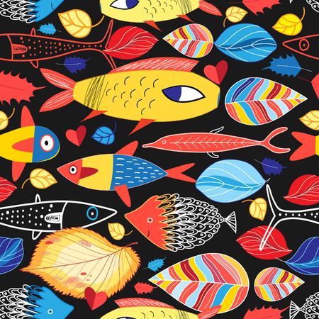 Seamless multi-colored autumn pattern of fish and foliage. Example for web poster design.