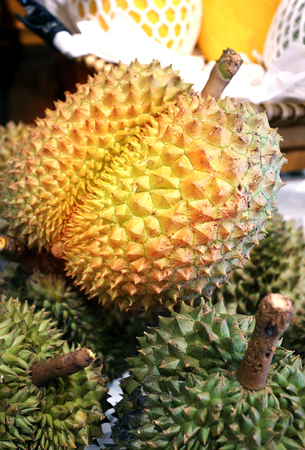 Photo of macro bright delicious durians in a shop window