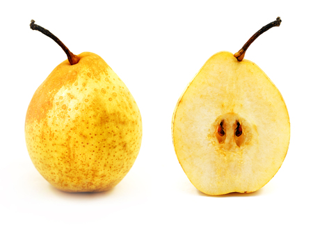 Photo of a macro of a bright delicious in a cut and an entire pear on a white background