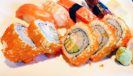 Photo of a macro background of delicious sushi