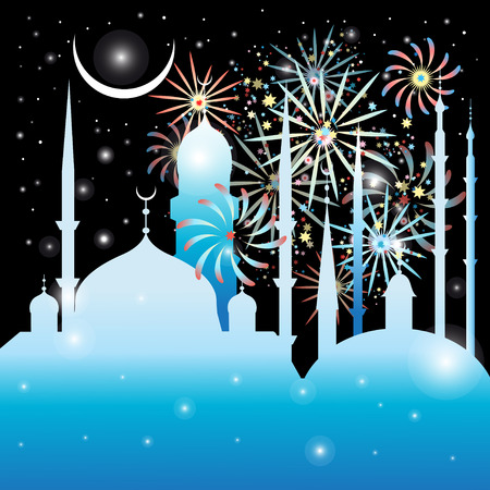 Graphics mosque and fireworks in the night sky  イラスト・ベクター素材