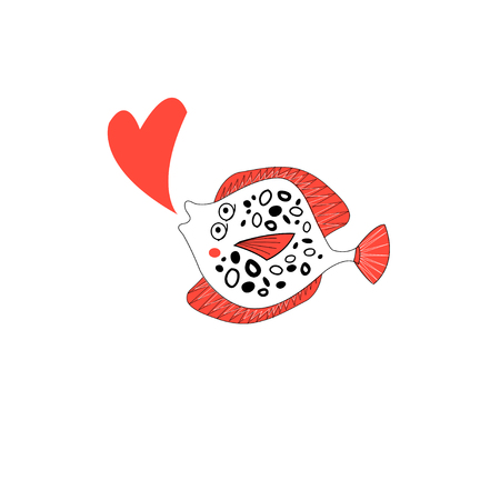 Illustration of funny amorous plaice on white background