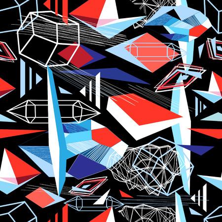 Nahtloses geometrisches Muster aus verschiedenen Formen auf dunklem Hintergrund