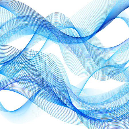 Abstract bright background with different blue wave elements