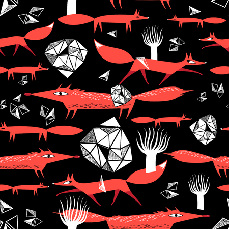 Seamless pattern with red foxes on a dark background. An example for the design of postcards and the web. Stock Illustratie
