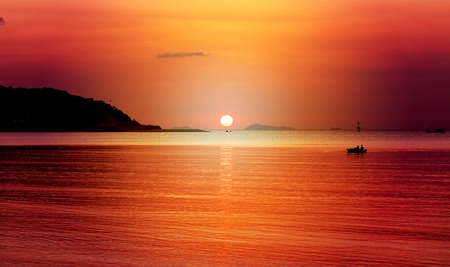 Photo background landscape sunset at the sea