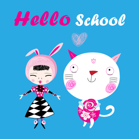 Funny illustration of a hello school with a girl and a cat Illustration